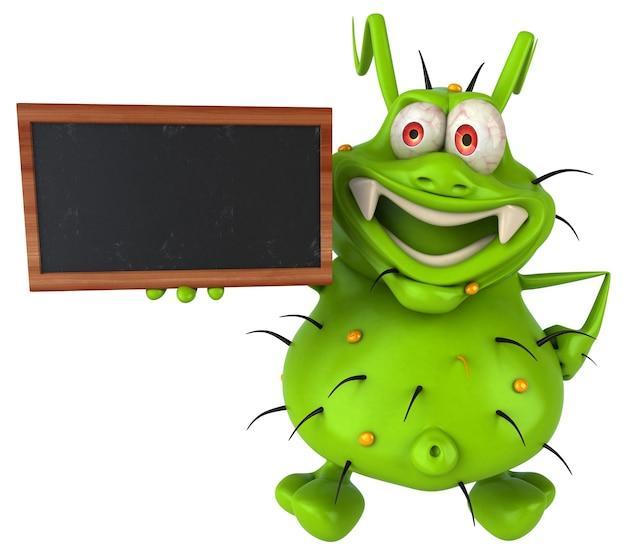 칠판을 들고 재미 3d 세균 괴물