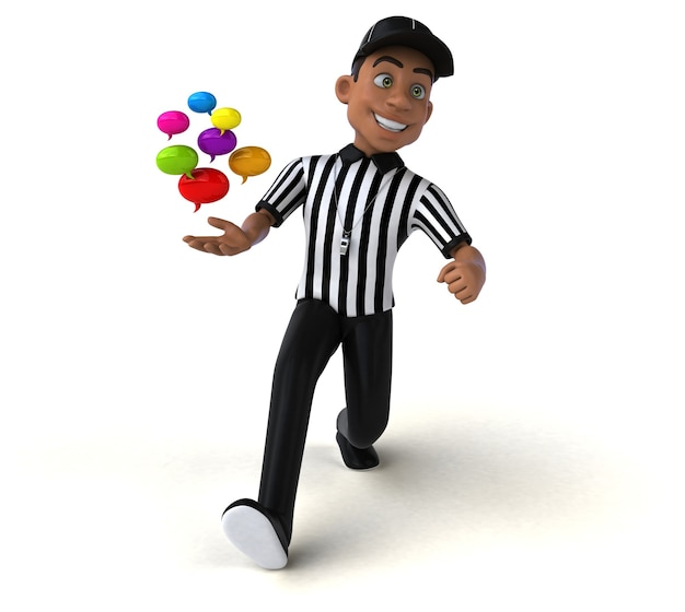 Fun 3d illustration of an american referee