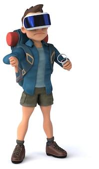 Divertente illustrazione 3d di un viaggiatore con zaino e sacco a pelo con un casco vr