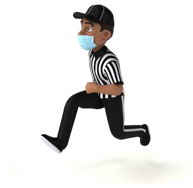 Fun 3d illustration of a black referee with a mask