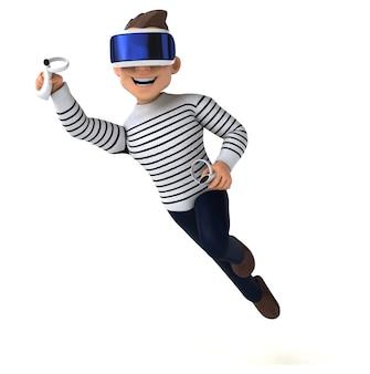 Divertente illustrazione 3d di un uomo di cartone animato con un casco vr
