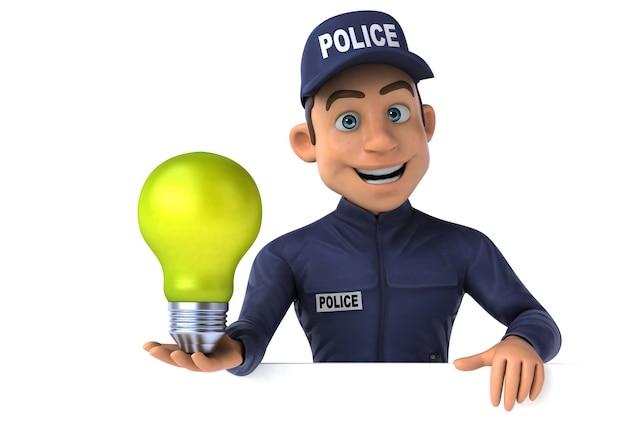 Fun 3d illustration of a cartoon police officer