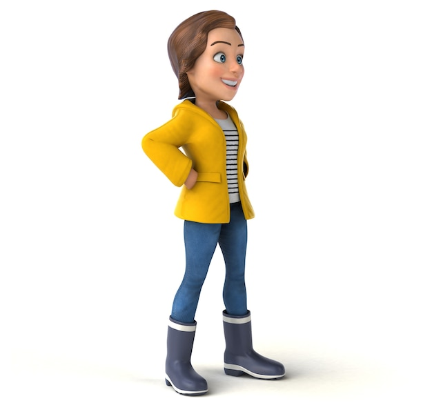 Fun 3d illustration of a cartoon teenage girl with rain gear