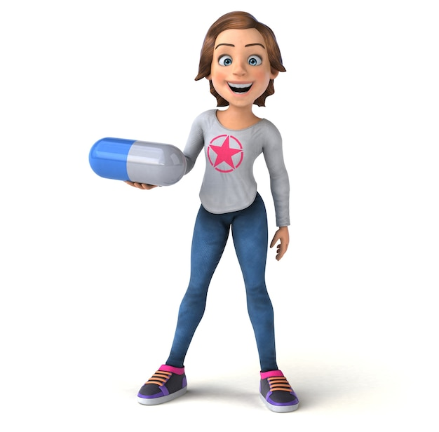 Fun 3d illustration of a cartoon teenage girl