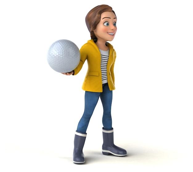 Fun 3d illustration of a cartoon teenage girl