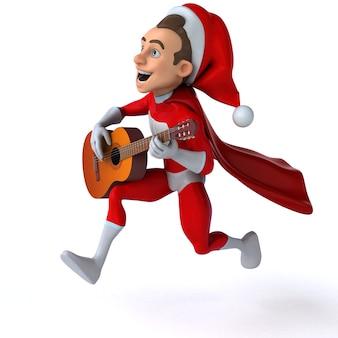 Fun 3d illustration of a fun super santa claus
