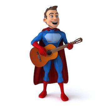 Divertente illustrazione 3d di un divertente supereroe