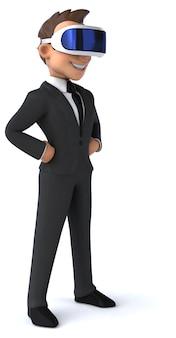 Веселая трехмерная иллюстрация мультяшного бизнесмена в шлеме vr