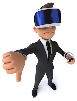Vr 헬멧을 쓴 만화 사업가의 재미있는 3d 그림