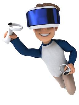 Vr 헬멧을 쓴 만화 아이의 재미있는 3d 그림