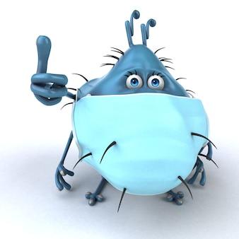 마스크가 있는 만화 미생물의 재미있는 3d 그림