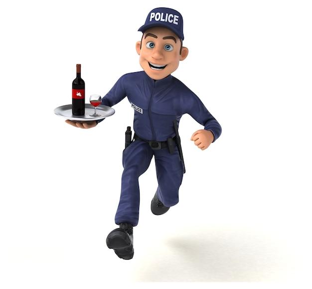 만화 경찰관의 재미있는 3d 그림