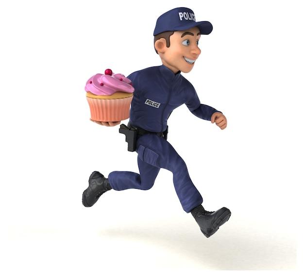만화 경찰관의 재미있는 3d 일러스트