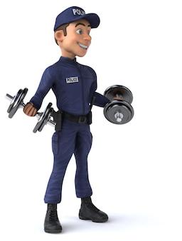Веселая трехмерная иллюстрация мультипликационного полицейского