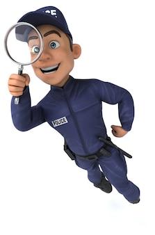 Веселая трехмерная иллюстрация мультяшного полицейского