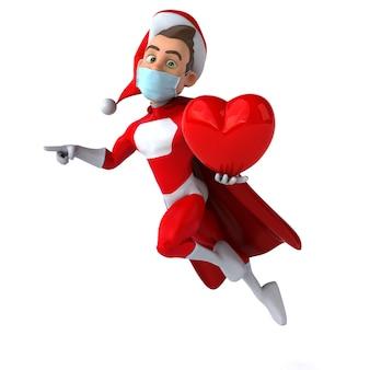 마스크와 만화 산타 클로스의 재미있는 3d 일러스트