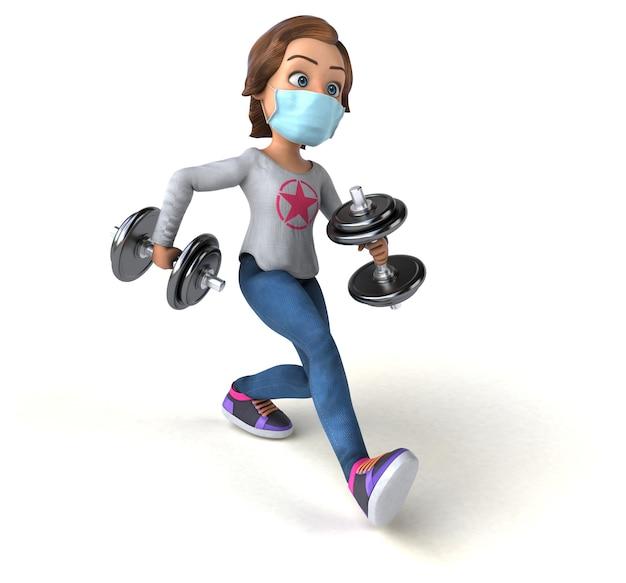 Весело 3d иллюстрации мультфильм девочка-подросток с маской