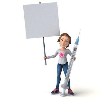만화 십 대 소녀의 재미있는 3d 그림