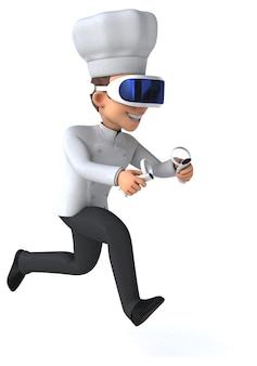 Vr 헬멧을 쓴 요리사의 재미있는 3d 그림