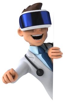 Веселая трехмерная иллюстрация врача с гарнитурой vr