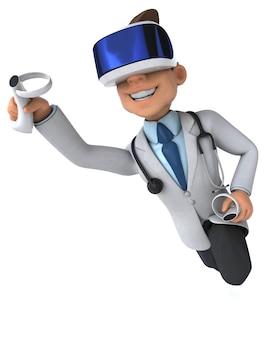 Vr 헬멧을 쓴 의사의 재미있는 3d 그림