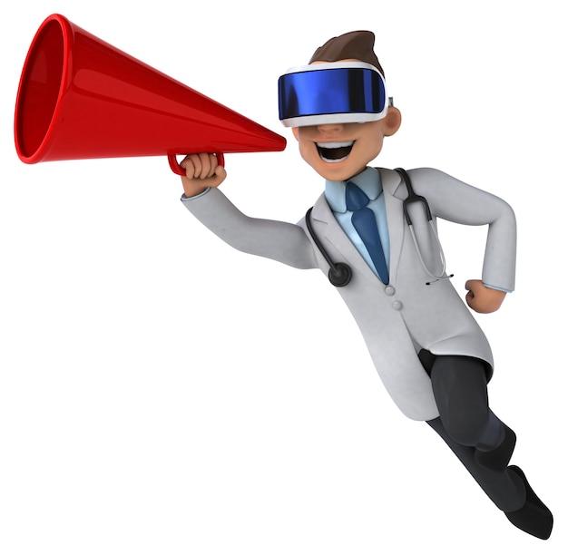 Веселая трехмерная иллюстрация врача в шлеме виртуальной реальности