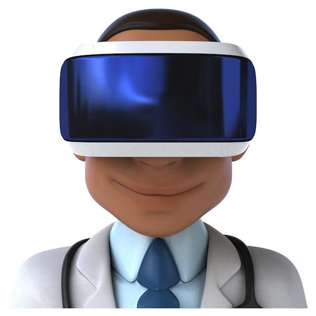 Vrヘルメットをかぶった医者の楽しい3dイラスト