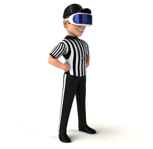 Веселая трехмерная иллюстрация рефери в шлеме виртуальной реальности