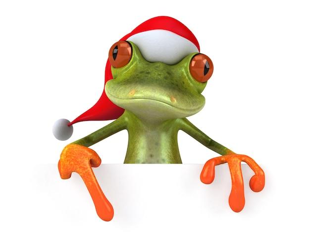 Веселая трехмерная иллюстрация санта-лягушки