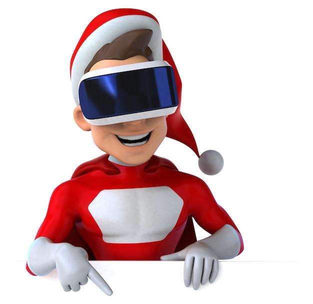 Веселая трехмерная иллюстрация супер санта-клауса в шлеме виртуальной реальности