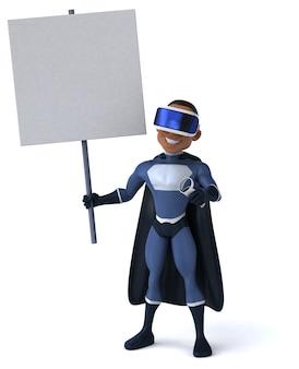 Веселая трехмерная иллюстрация супергероя в шлеме виртуальной реальности