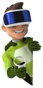 Vrヘルメットをかぶったスーパーヒーローの楽しい3dイラスト