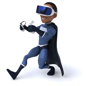 Vr 헬멧을 쓴 슈퍼히어로의 재미있는 3d 일러스트레이션