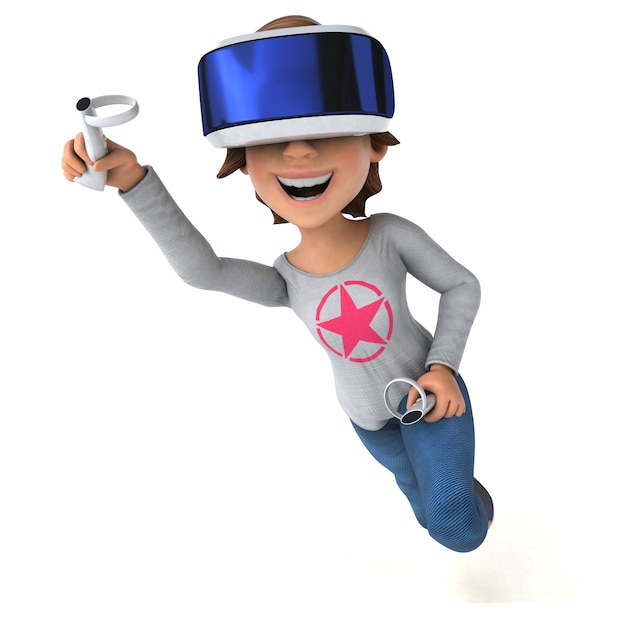 Vr 헬멧을 가진 십대 소녀의 재미있는 3d 일러스트