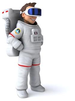 Веселая трехмерная иллюстрация космонавта с гарнитурой vr