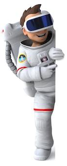 Веселая трехмерная иллюстрация космонавта в шлеме виртуальной реальности