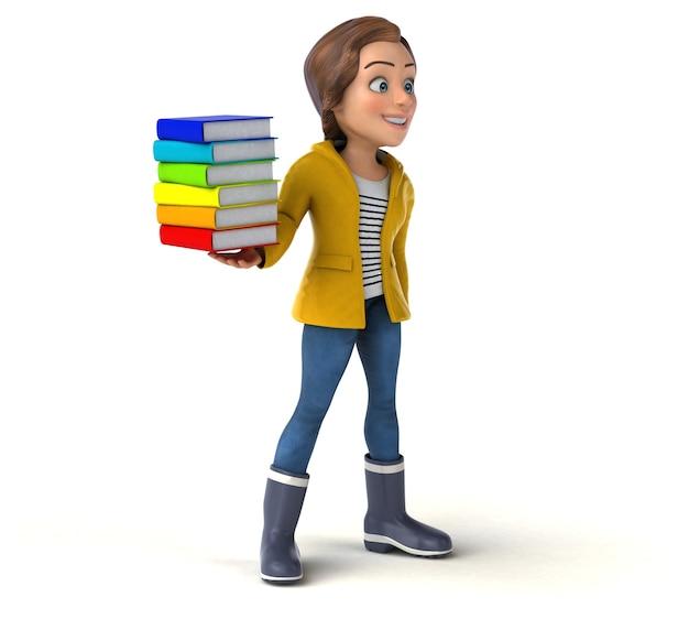 Fun 3d rendering of a cartoon teenage girl