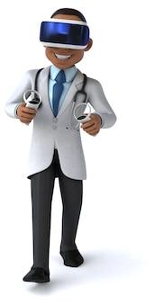 Забавный 3d-рендеринг врача в шлеме виртуальной реальности