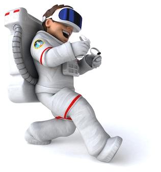 Забавный 3d-рендеринг космонавта в шлеме виртуальной реальности