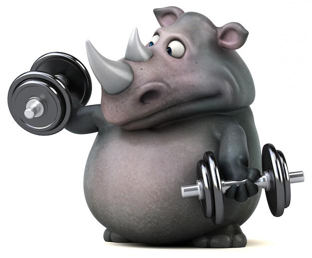 Fun носорог с гантелями 3d иллюстрации