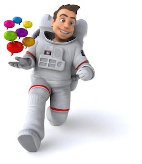 Fun astronaut 3d illustration