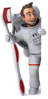 Забавный космонавт 3d иллюстрация