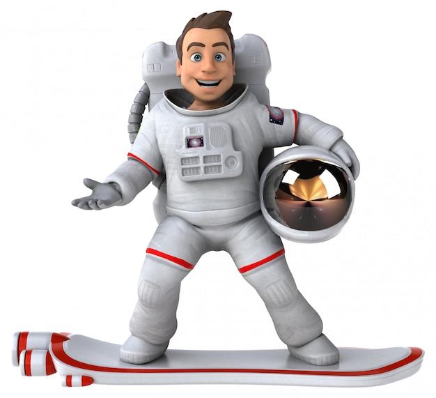 Забавный персонаж астронавт - 3d иллюстрация