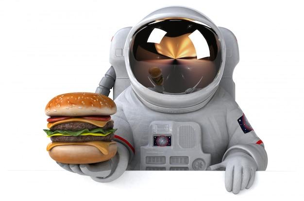 Забавный космонавт с гамбургером