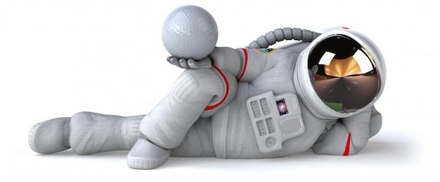 Забавный космонавт с белым мячом для гольфа