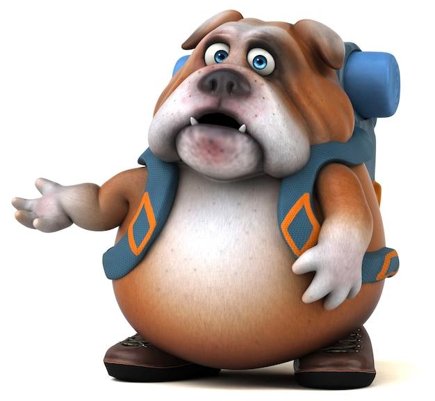 Fun backpacker bulldog cartoon character