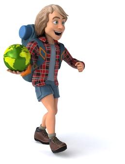 Весело рюкзаком мультипликационный парень