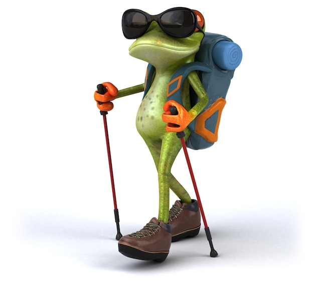 Веселая лягушка туриста 3d иллюстрация
