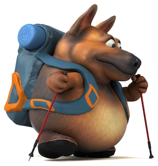 Весело рюкзаком немецкая овчарка мультипликационный персонаж