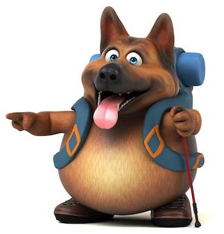 재미 있는 배낭 독일 셰퍼드 개 만화 캐릭터